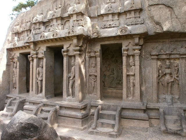 cave temple with carvings of Hindu Gods in Mahabalipuram India