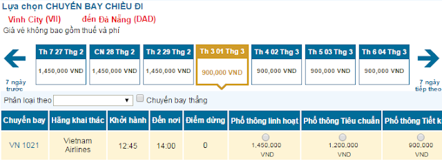 Giá vé máy bay Vinh đi Đà Nẵng giá rẻ