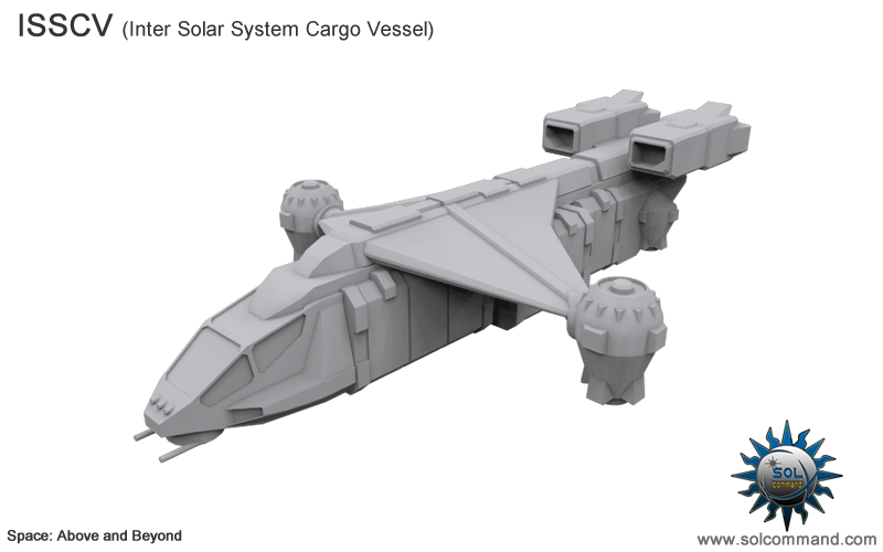 isscv, inter solar system cargo vessel, spaceship, transport, space above and beyond, 2063, low poly, 3d model, free download, solcommand