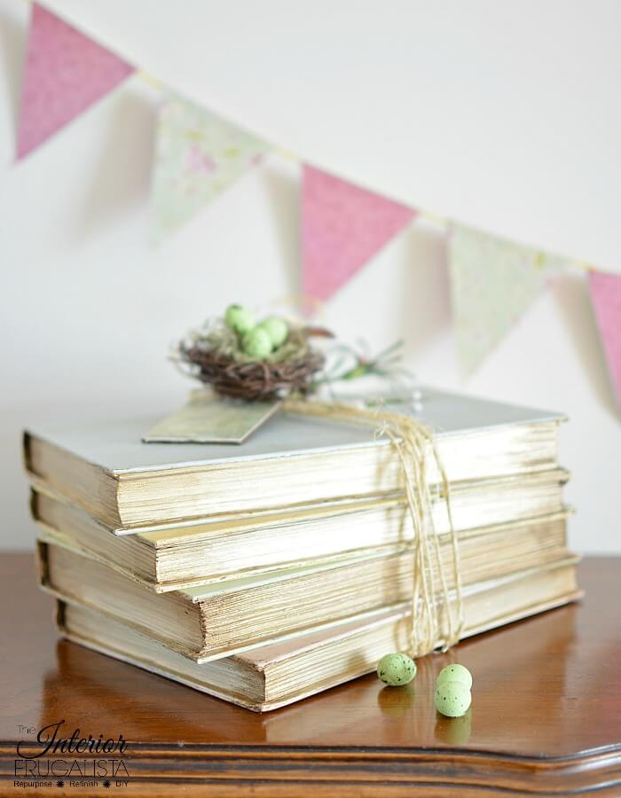 DIY Decorative Books Pages Painted Metallic Gold