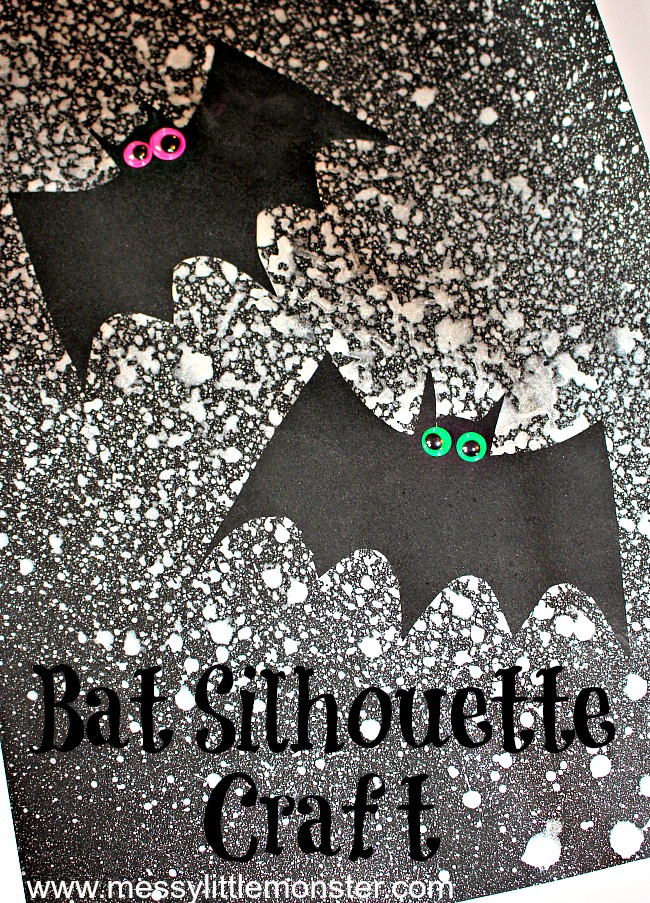 Halloween silhouette bat craft for kids. Use our printable bat template and paint in a spray bottle to paint a spooky night sky.  Suitable for preschool age upwards.