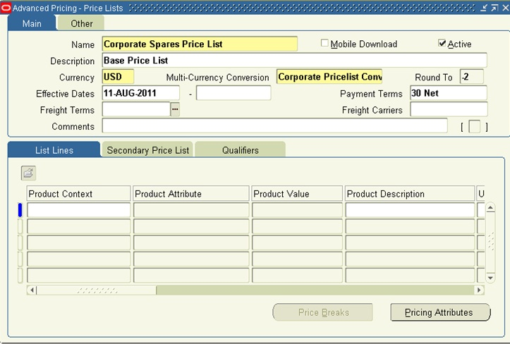 Oracle Applications - Functional: Creating Price List