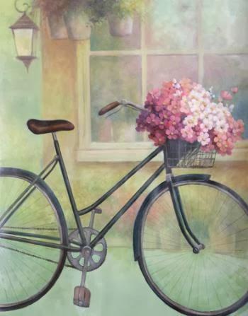 Papel De Arroz Decorado Con Bicicleta