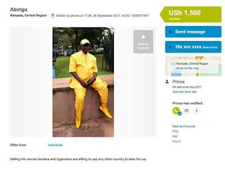 Photos: Lol... Ugandan Legislator put up for sale on OLX after he was spotted urinating on the wall of Ministry of Finance building