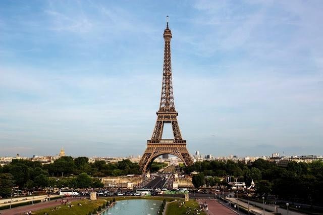 paris eiffel tower postcard sky city landscape
