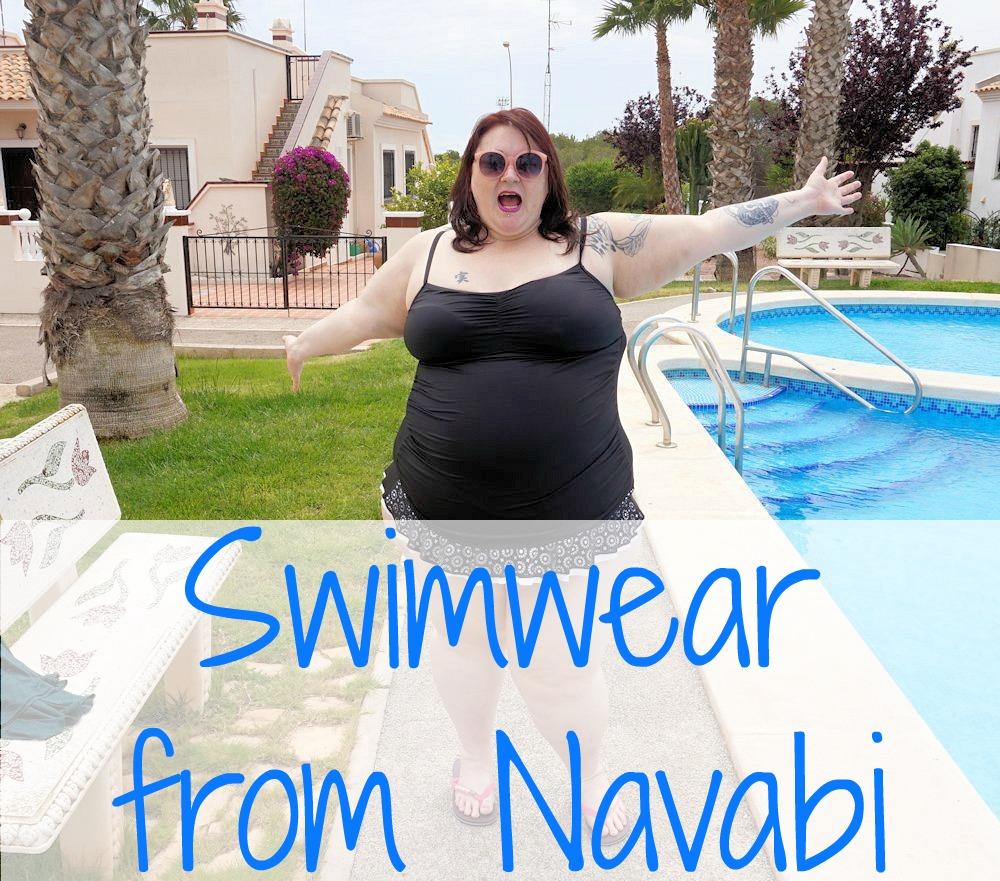 24th & Ocean skirted plus size swimdress from Navabi laser cut skirt black white monochrome
