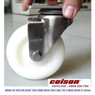 Bánh xe đẩy chuyển hướng càng Inox 304 Colson 4 inch | 2-4456-254 www.banhxepu.net