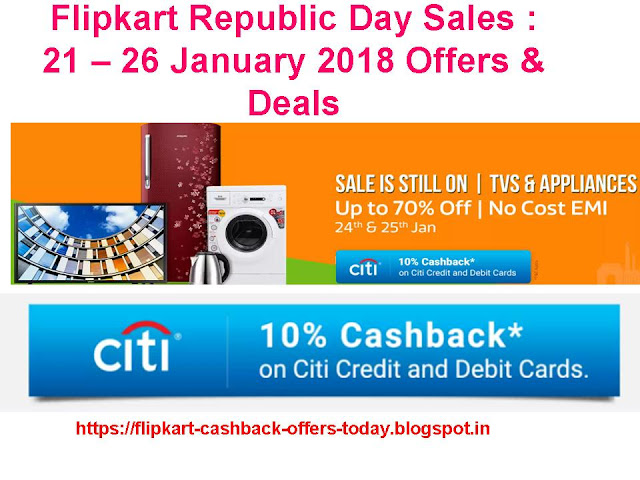 Flipkart Republic Day Sale : 21 – 26 January 2018 Offers & Deals
