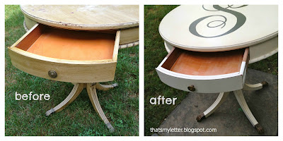 round side table drawer interior before and after