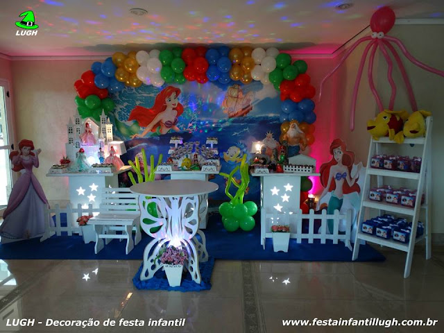 Decoração infantil tema A Pequena Sereia (Ariel) - Provençal