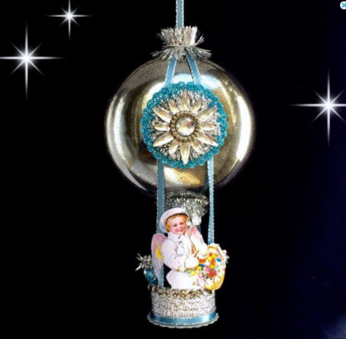 Mercury Glass Christmas Ornament, Handmade Christmas Ornament, Victorian Style Angel, Hot Air Balloon Ornament,Vintage Christmas Ornament Laurie Horner Sparkle Deluxe
