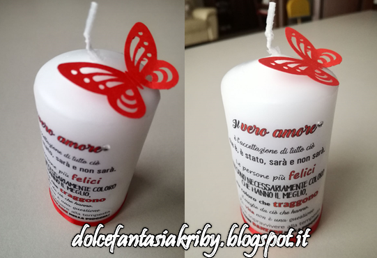 candela personalizzata handmade farfalla