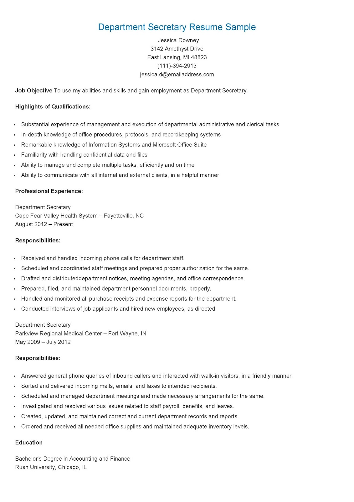 resume samples  department secretary resume sample