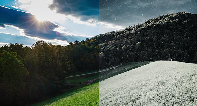 Превращаем лето в зиму в Фотошоп
