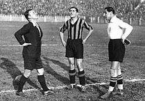 Giuseppe Meazza (centre) and Giampiero Combi (right) were on opposite sides in Serie A matches