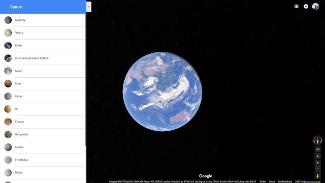 Ngoài chế độ xem Trái Đất như trước đây, giờ đây Google còn hỗ trợ thêm chế độ xem ở 12 hành tinh/vệ tinh khác nhau trong Hệ Mặt Trời. Ảnh chụp màn hình.