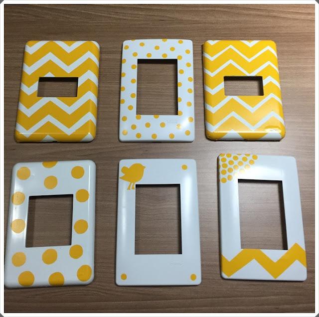 espelhos de tomada chevron amarelo