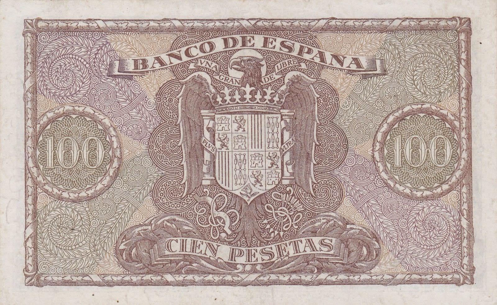 Spain money currency 100 Pesetas banknote 1940 Coat of arms of Spain