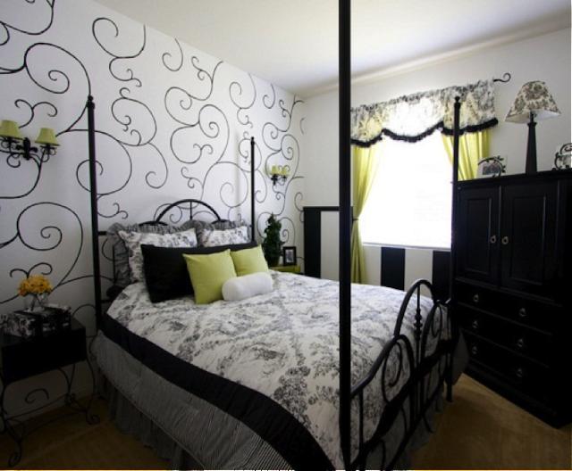 Decoração quarto branco e preto