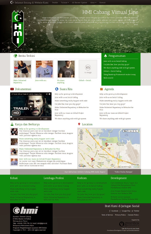 Standart Themes untuk interface website Cabang HMI (Greenhouse Beta I)