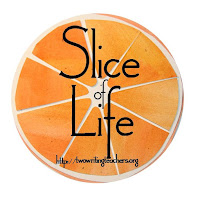 orange slice badge for Two Writing Teachers March blogging challenge