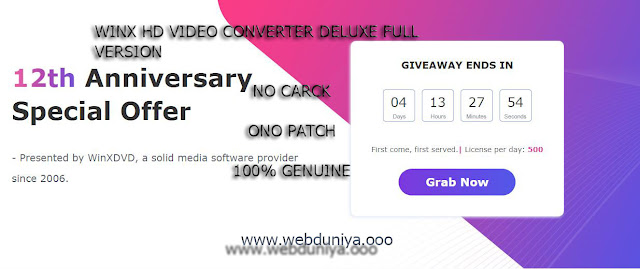 WinX HD Video Converter Deluxe Full Version Giveaway License