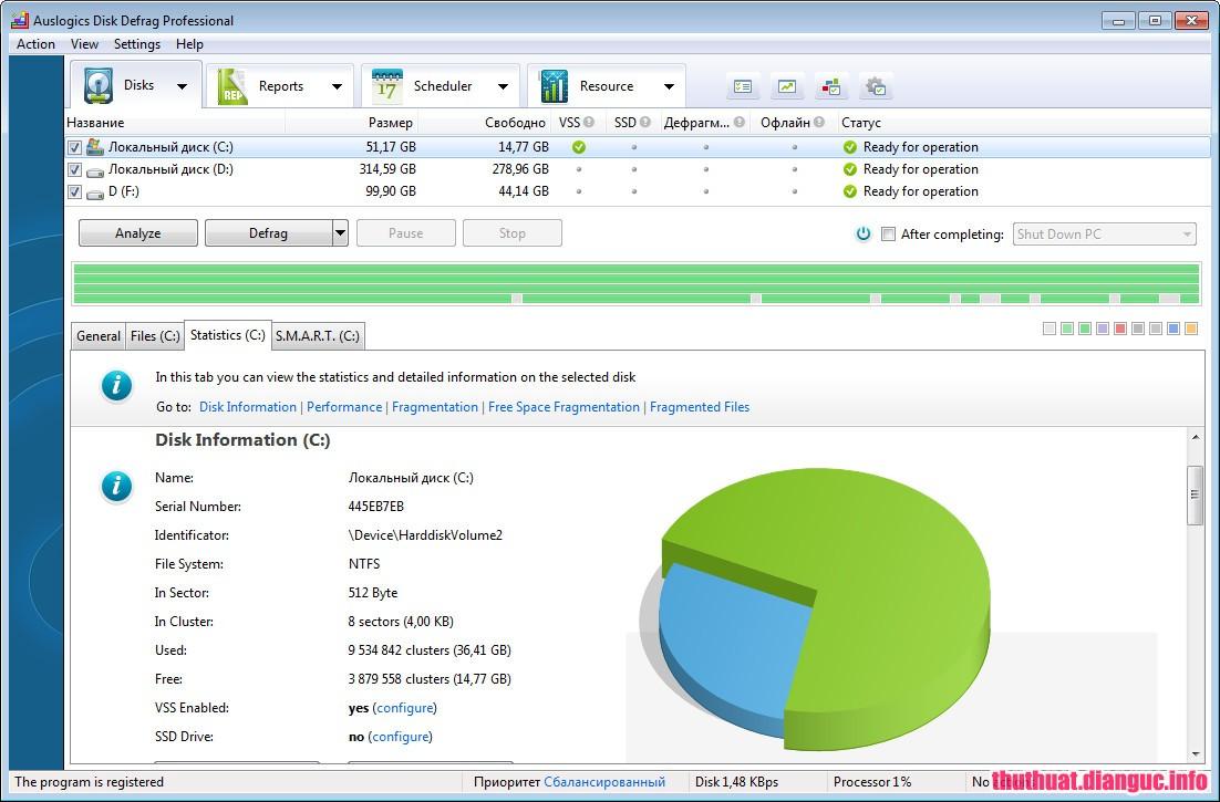 programa auslogics disk defrag