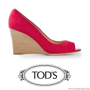 Princess Marie Style Tod's Peep Toe Wedge Pump in Red