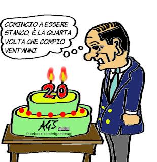 berlusconi, compleanno, gioventù, 80 anni, vignetta, satira