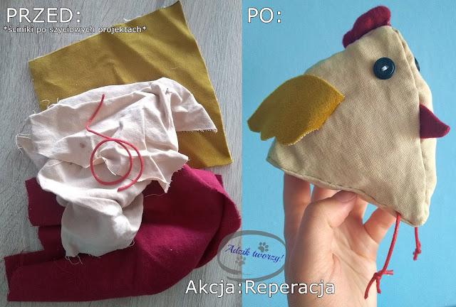 Akcja Reperacja u Adzika - kura materiałowa DIY szycie ze ścinek