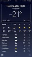 Captura de pantalla de temperatura de -21º