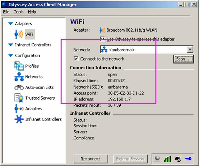 konek menggunakan Odyssey Access client manager