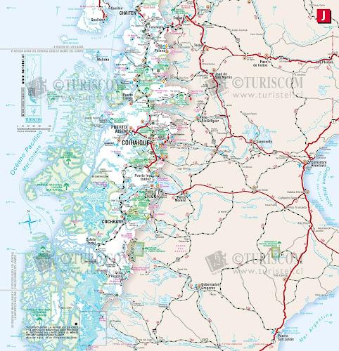Mapa rodoviário da Região de Aysén - Chile
