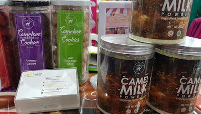 Camelus' camel milk powder and foods made from camel milk, including cookies.