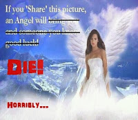modified facebook share angel good luck meme die horribly