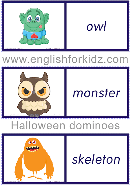 Printable Halloween domino cards - ESL game