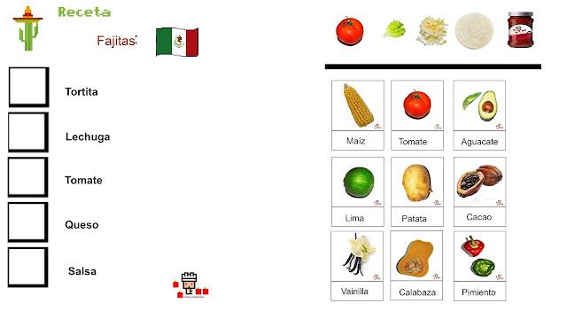 en un lado laficga con cuadrados donde pegar los ingredientes, y los ingredientes para poder cortar y pegarlos. y pequeñas tarjetas que enseñan maíztomate, aguacate, kima, patata, cacao, vainilla, calabaza y pimientos