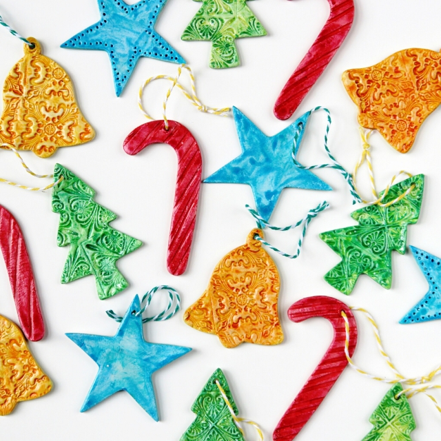 Diy Watercolour Clay Christmas Tree Decorations