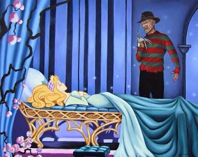 Meme de humor sobre La bella durmiente y Freddy Krueger