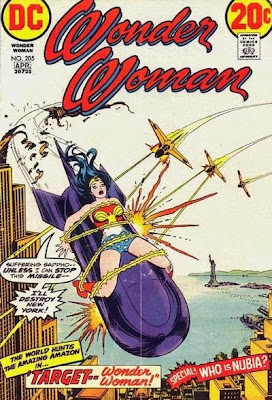 Wonder Woman #205, Target Wonder Woman, tied to a nuclear missile by her own lasso, flying over New York about to blow it up in a nuclear explosion, thanks to Dr Domino