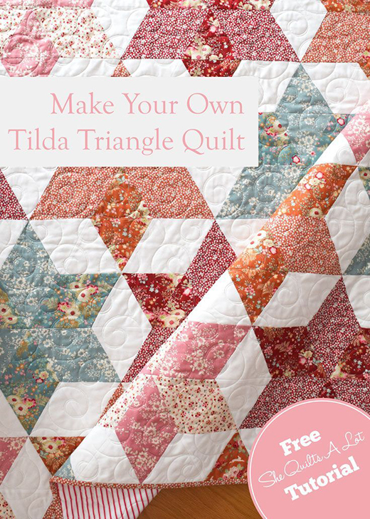 Tilda Triangle Quilt Free Tutorial designed by Peta Peace of She Quilts Alot