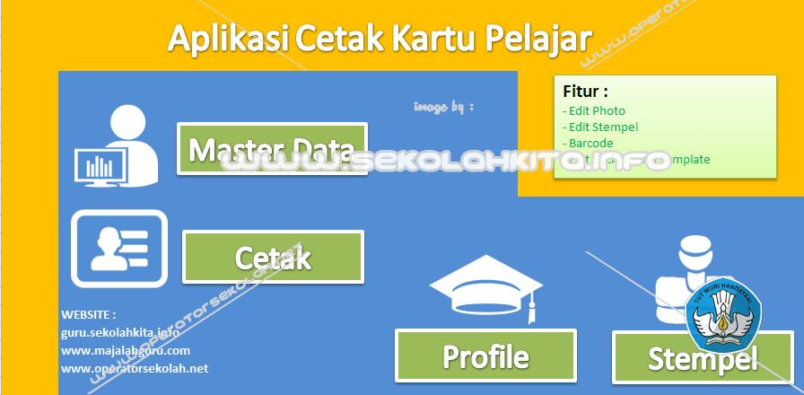 Aplikasi Cetak Kartu Pelajar Menggunakan Excel Fitur Barcode, Photo, Stempel dan Background Kartu
