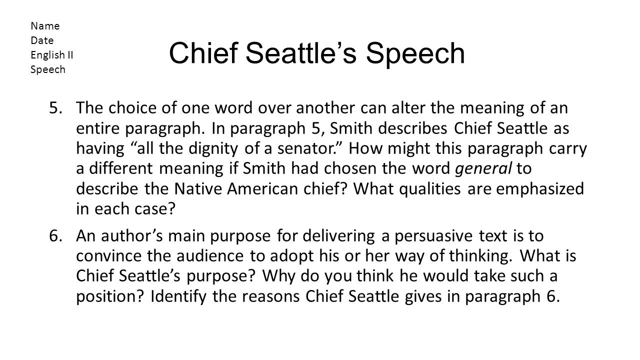The Great Change The Gospel Of Chief Seattle Written For Television