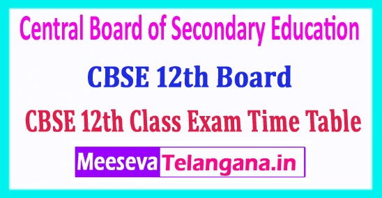 CBSE 12th Time Table 2019 Central Board 12th Class Date Sheet 2019 Download
