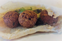 Falafel in pitta bread with salad