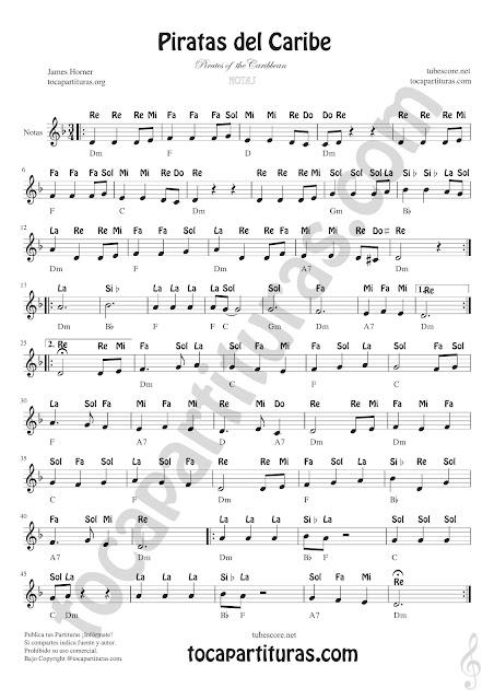 Piratas del Caribe Partitura con Notas en Letra en español Clave de Sol Partituras de Flautas, Saxofón Tenor, Violín, Oboe, Trompeta, Clarinete, Corno Inglés, Corno Francés o Trompa, Saxofón Tenor o Soprano...