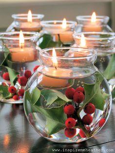 Decoracion DIY Navidad: Centro de mesa Pecera velas muerdago