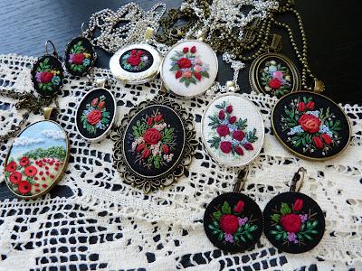 kolczyki vintage, haft ręczny, Marta Krajewska