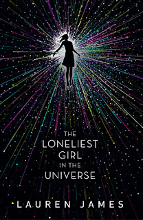 Book cover for The Loneliest Girl in the Universe, featuring a girl surrounded by stars in space