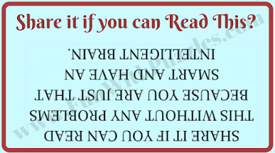 Reading brain teaser to read upside down for twisting your brain